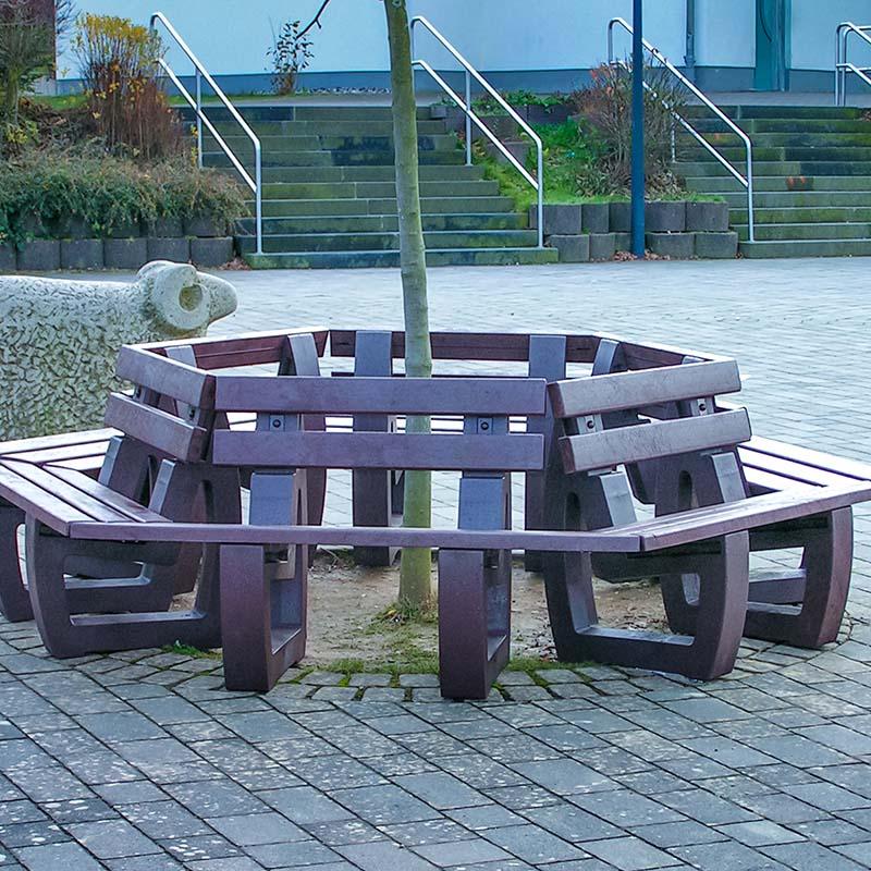 Espace Créatic - Mobilier Urbain - Banquette tour d'arbre en matériau recyclé 100% recyclable